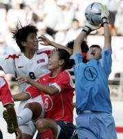 Korea's Jung-Mai gets the ball