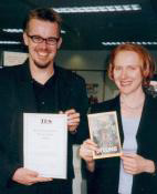 Clive and Hodder's Anne Clark pose with